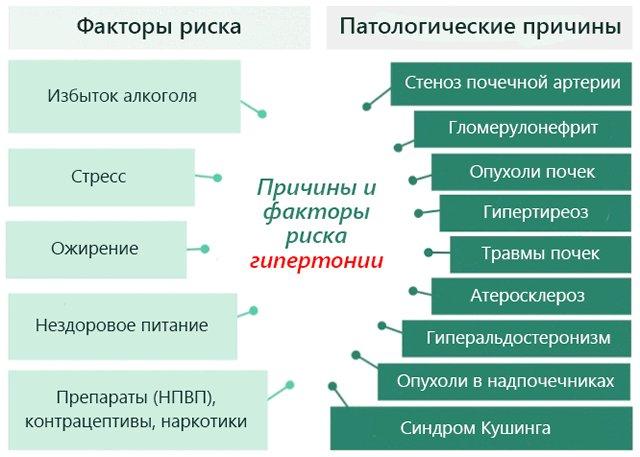 Причины видов гипертонии